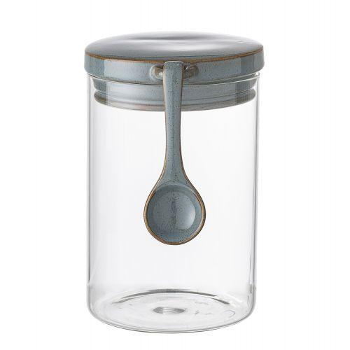 Skleněná dóza s víčkem a lžičkou Stoneware Ceramic