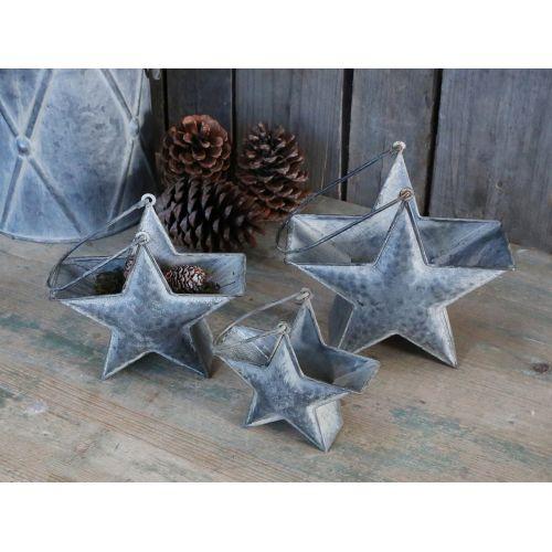 Zinková dekorace ve tvaru hvězdy Grey Strar