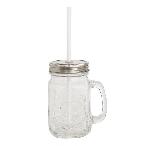 Sklenice s uchem a brčkem Ice Cold Drink