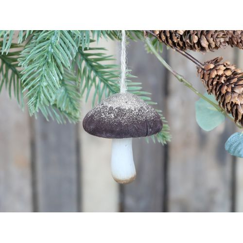 Velurová vánoční ozdoba Mushroom Mocca 7 cm