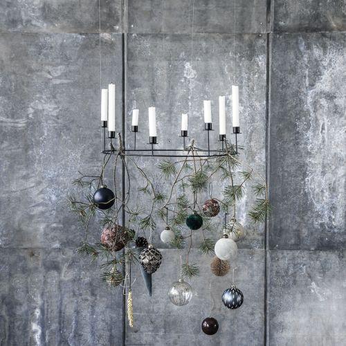 Sametová vánoční baňka Grey