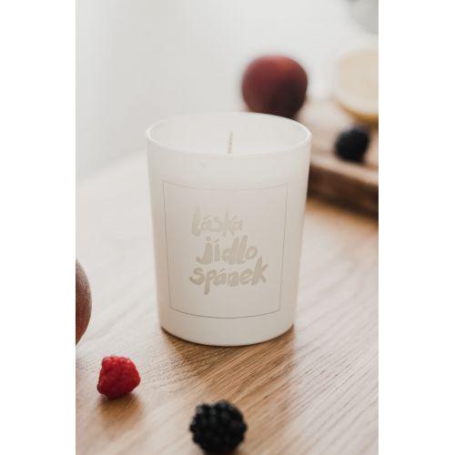 Bílá svíčka Láska Jídlo Spánek - limetka a bazalka