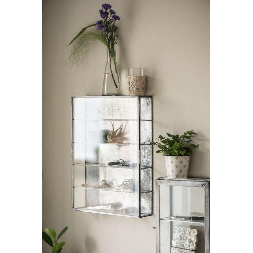 Nástěnná skleněná skříňka s poličkami Silver