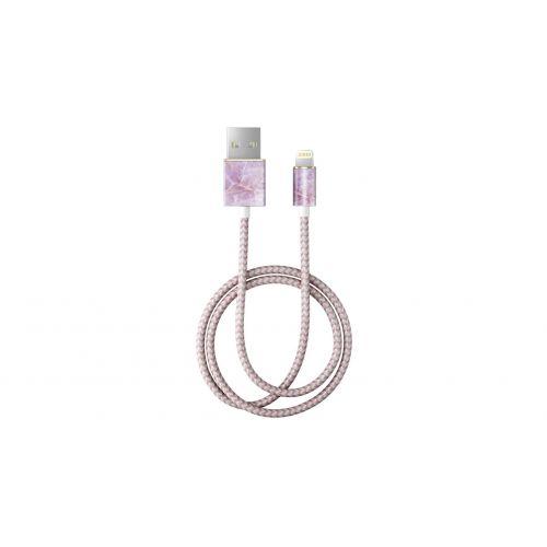 Textilní USB kabel na iPhone Pilion Pink Marble 1m