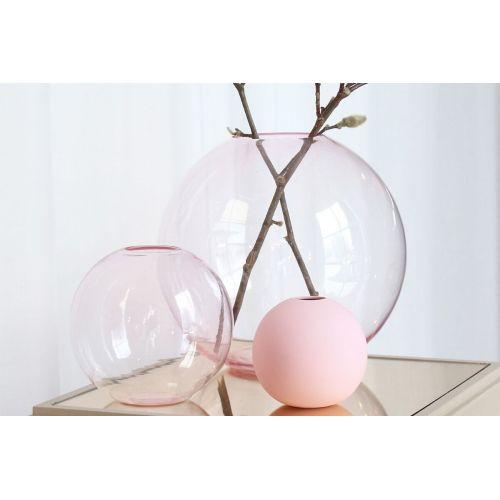 Kulatá skleněná váza Ball Glass Pink 25cm