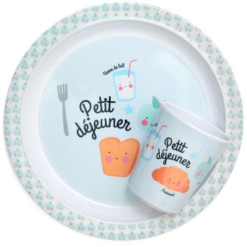 Dětský melaminový talířek Petit déjeuner Blue