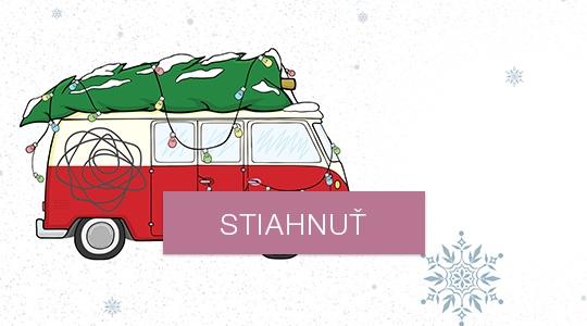 Novoročné/vianočné prianie - auto na farebnú tlač