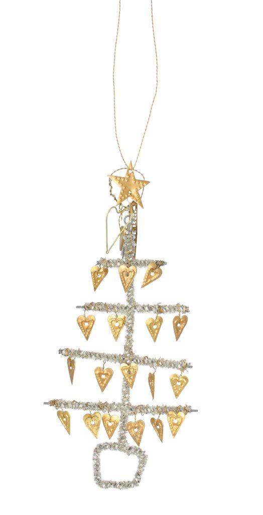 Vánoční ozdoba stromeček Hearts, žlutá barva, kov