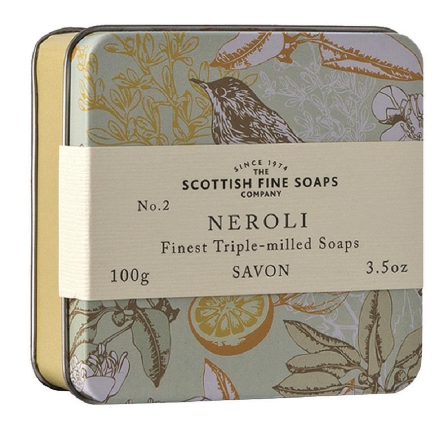 SCOTTISH FINE SOAPS Mýdlo v plechové krabičce NEROLI, žlutá barva