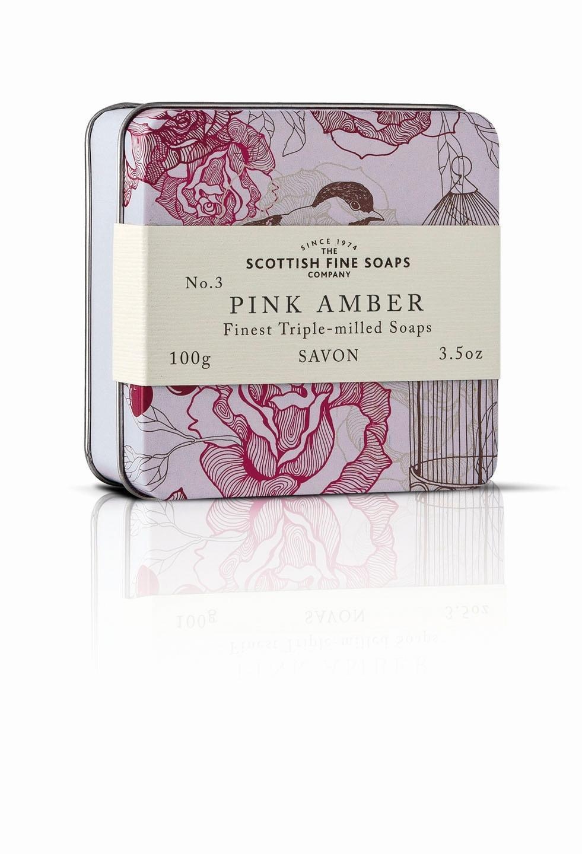 Scottish fine soaps / Mýdlo v plechové krabičce - RŮŽOVÁ AMBRA