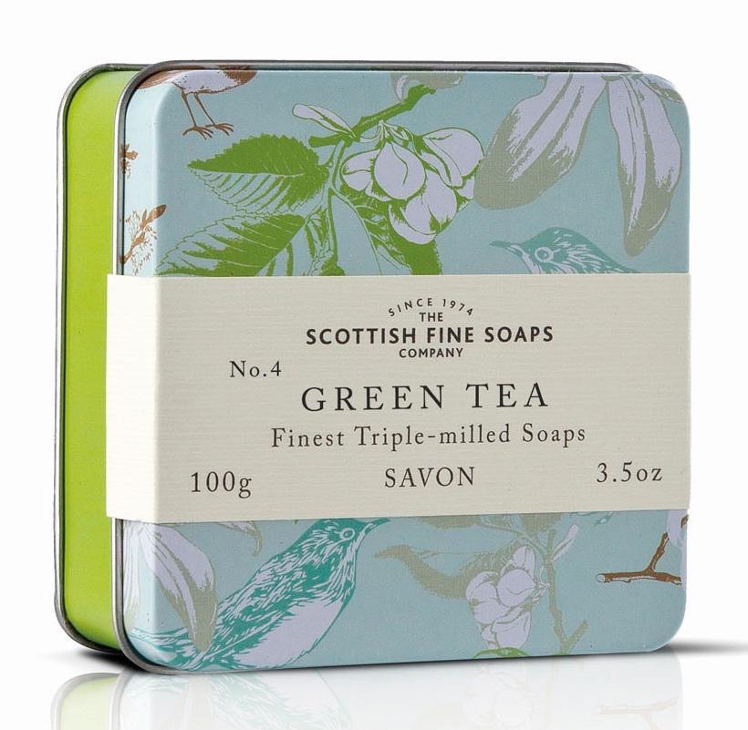 Scottish fine soaps / Mýdlo v plechové krabičce - ZELENÝ ČAJ