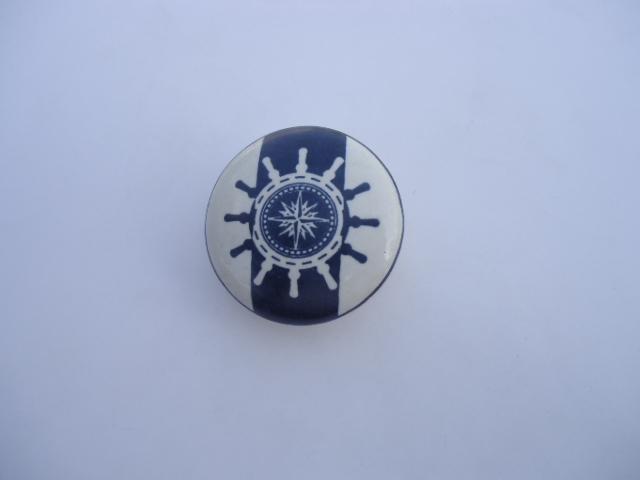 La finesse Porcelánová úchytka Rudder, modrá barva, bílá barva, porcelán