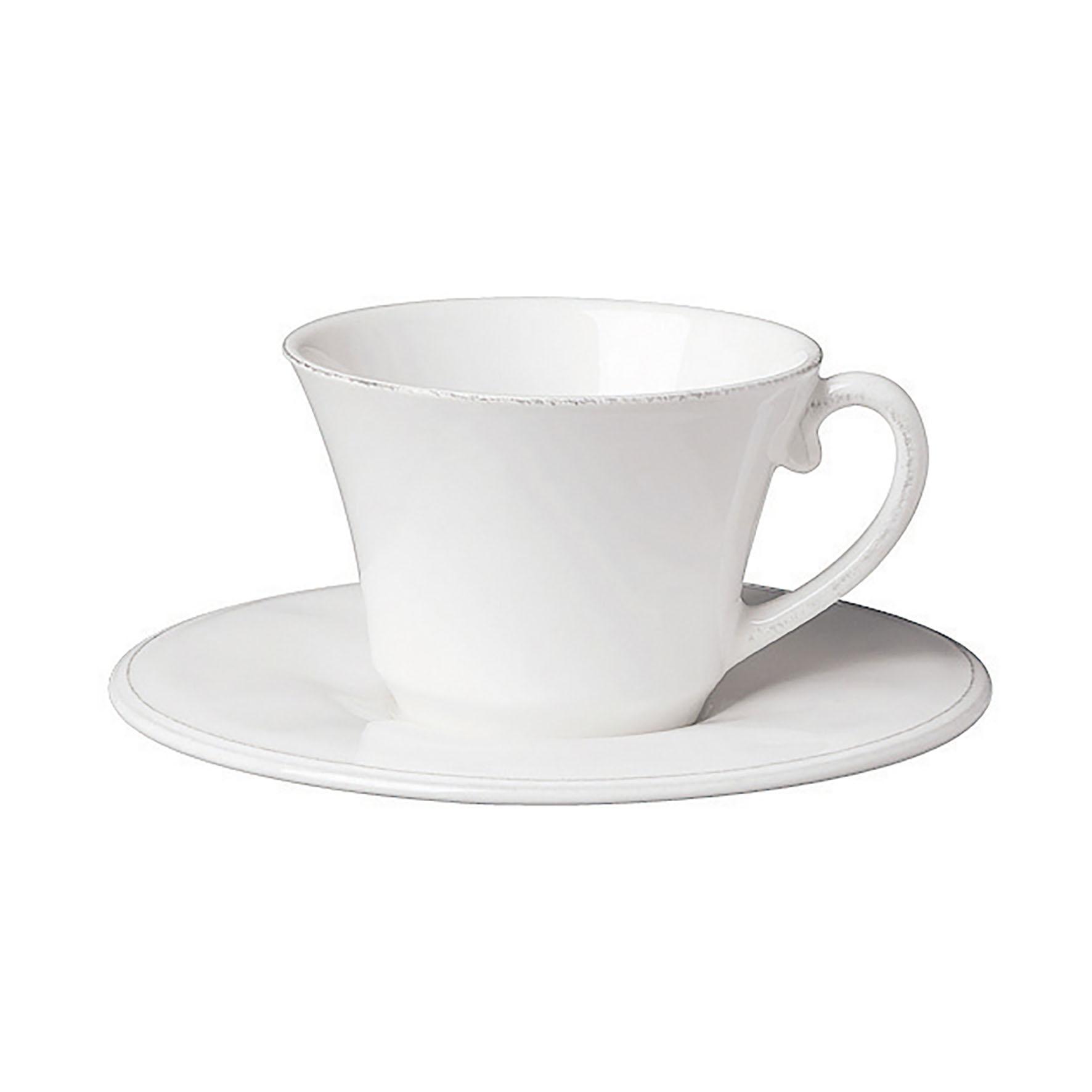 CÔTÉ TABLE Šálek s podšálkem Constance white, bílá barva, keramika