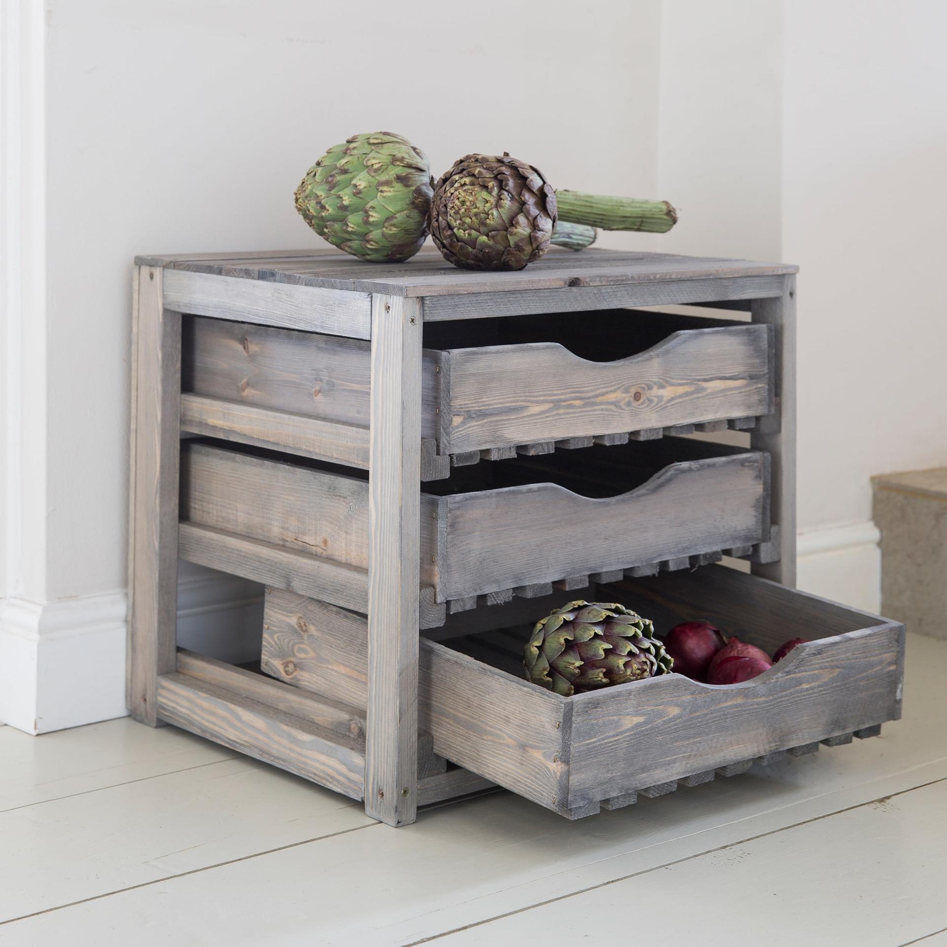 Garden Trading Úložné dřevěné boxy na zeleninu, šedá barva, dřevo