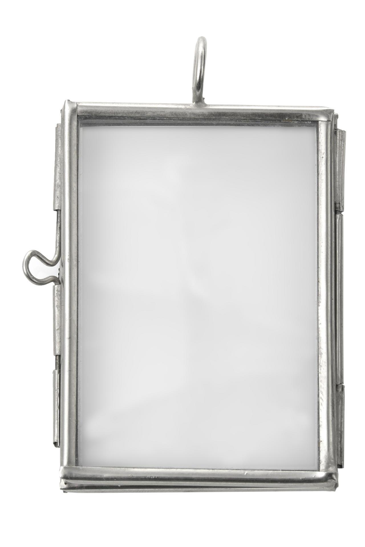 MADAM STOLTZ Závěsný rámeček mini, šedá barva, kov