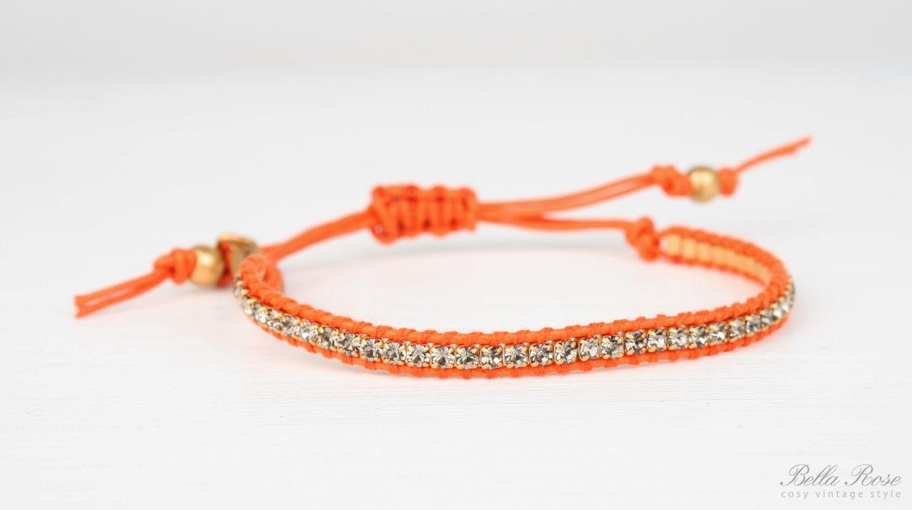 HULTQUIST Náramek Crystals orange, oranžová barva B291007279E