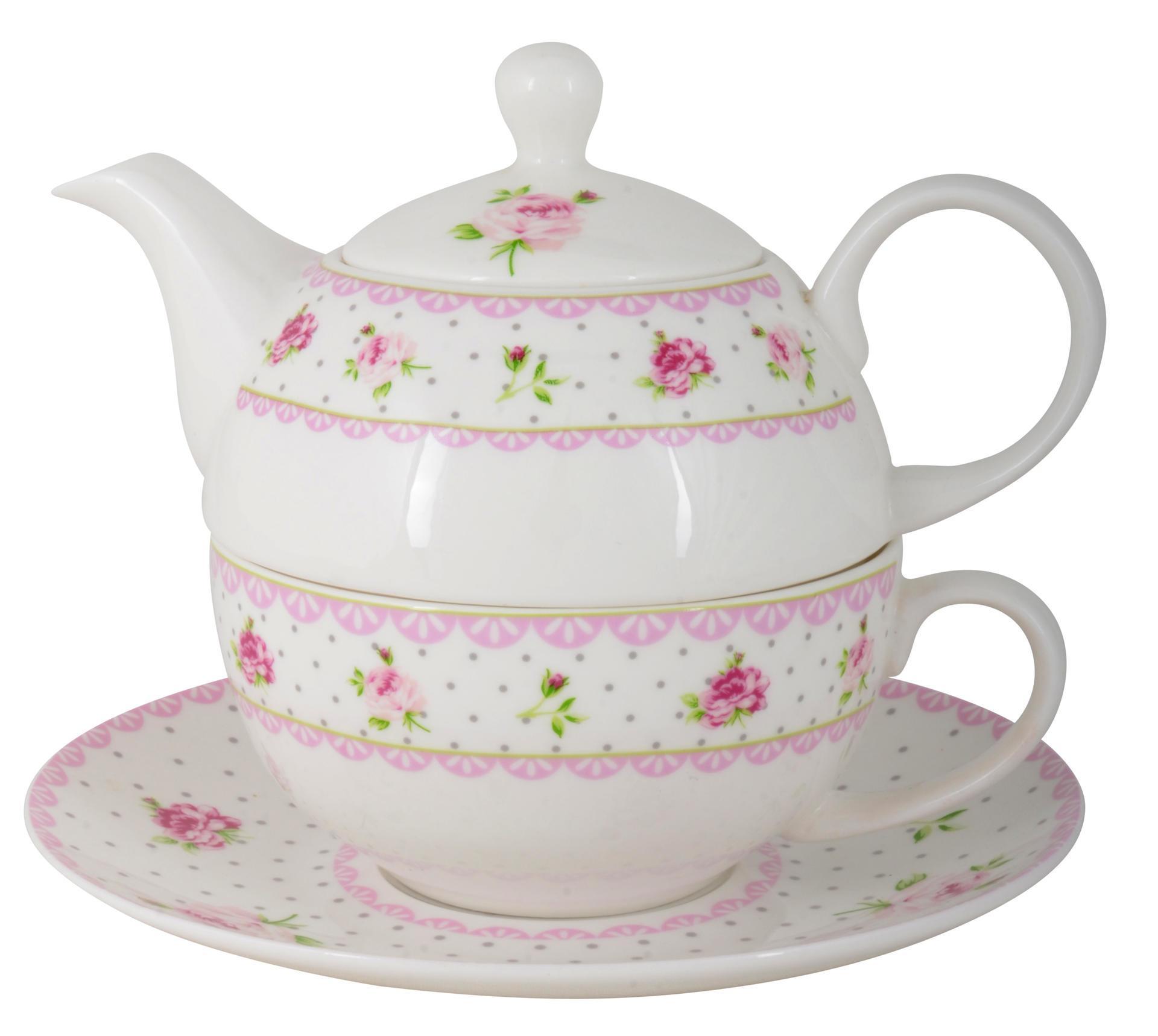 IB LAURSEN Šálek s podšálkem a čajová konvička Cottage rose, bílá barva, porcelán