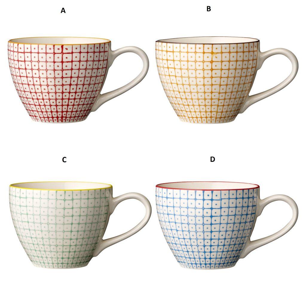 Bloomingville Hrneček Tia D - modrý, červená barva, modrá barva, zelená barva, oranžová barva, keramika