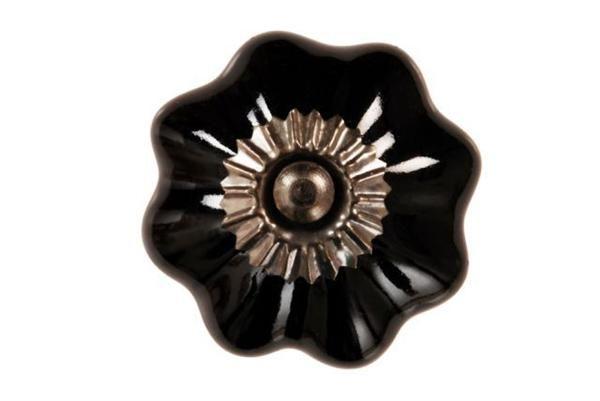 La finesse Porcelánová úchytka Sarah black, černá barva, porcelán
