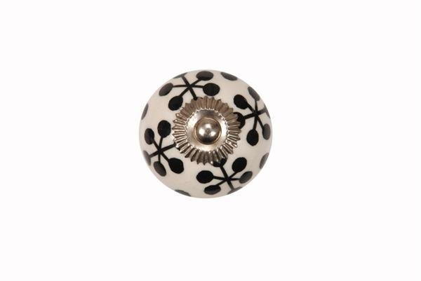 La finesse Porcelánová úchytka Black ornament, černá barva, porcelán