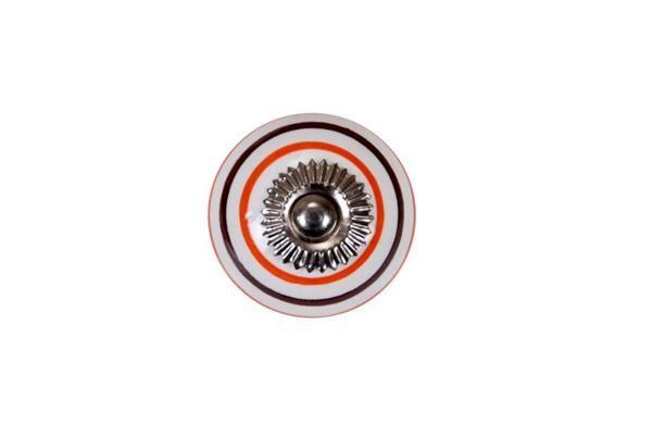 La finesse Porcelánová úchytka Orange/brown stripe, oranžová barva, hnědá barva, porcelán