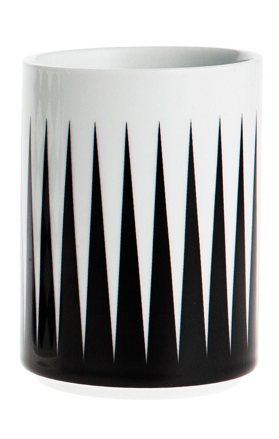 ferm LIVING Porcelánový hrneček Geometry 1, černá barva, porcelán 300 ml