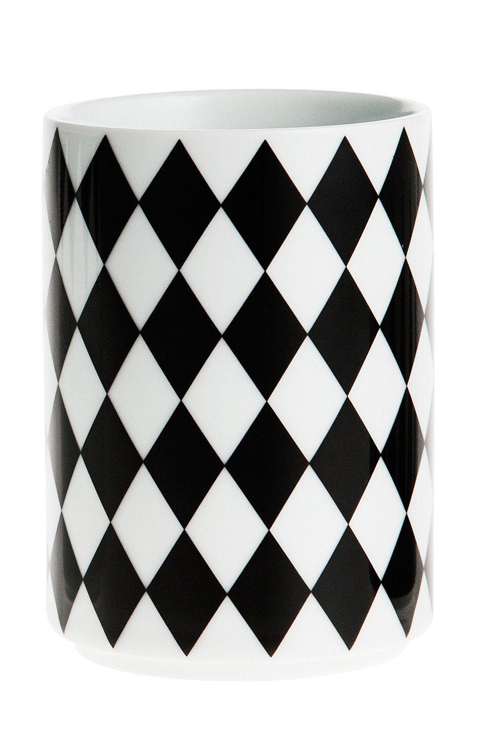 ferm LIVING Porcelánový hrneček Geometry 4, černá barva, porcelán