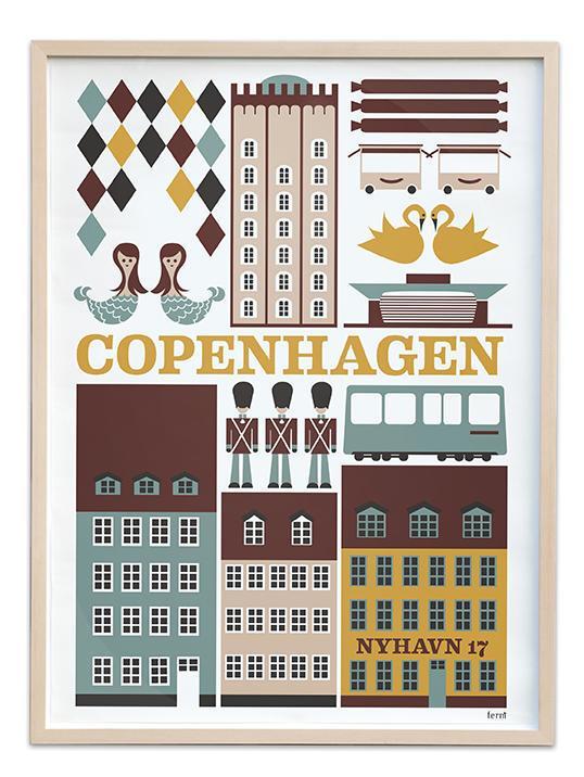 ferm LIVING Plakát Copenhagen 30x42, multi barva, papír
