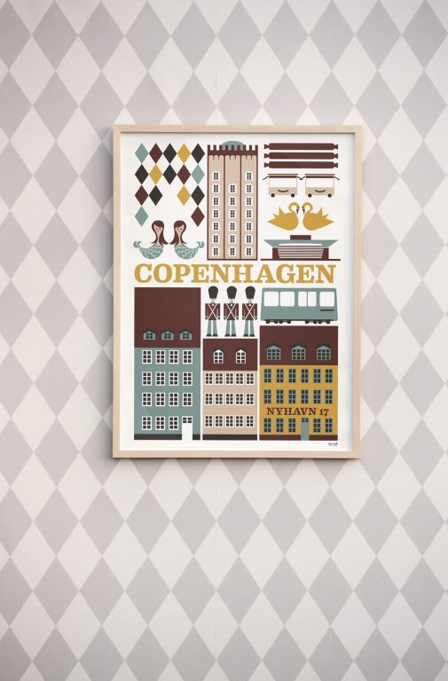 ferm LIVING Plakát Copenhagen 50x70, multi barva, papír