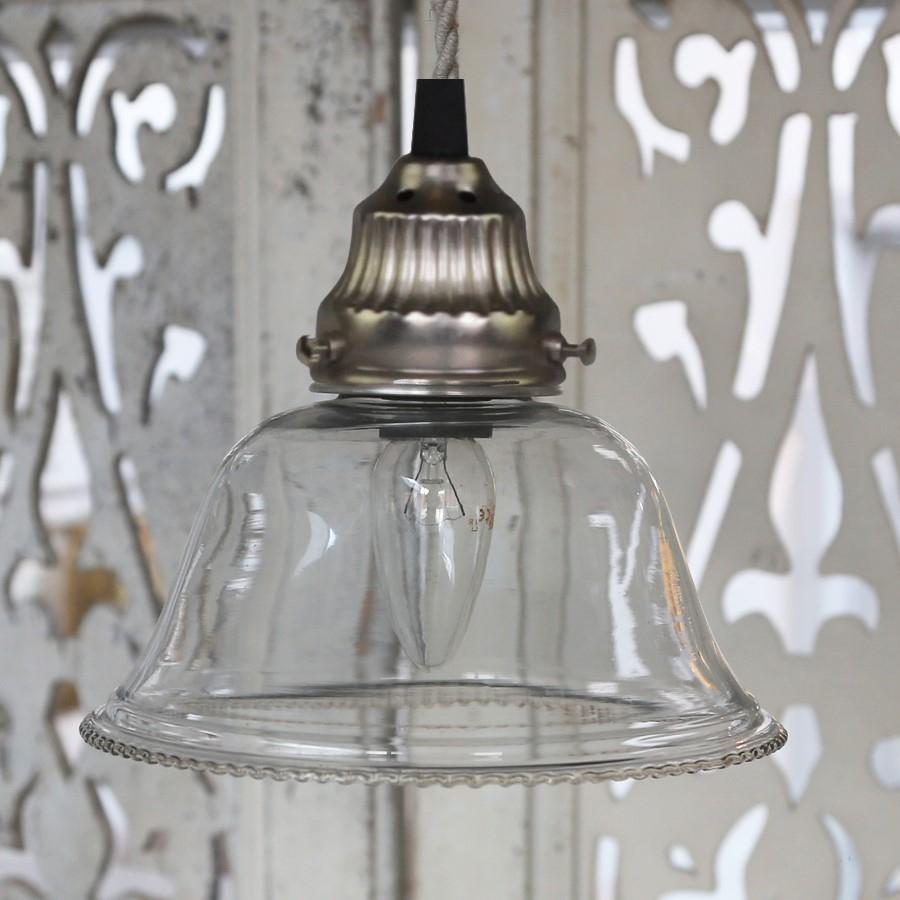 Chic Antique Stropní lampa Glass bell, čirá barva, sklo