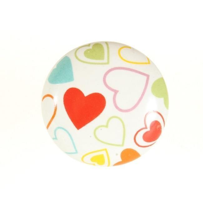La finesse Porcelánová úchytka Hearts, multi barva, porcelán 40 mm
