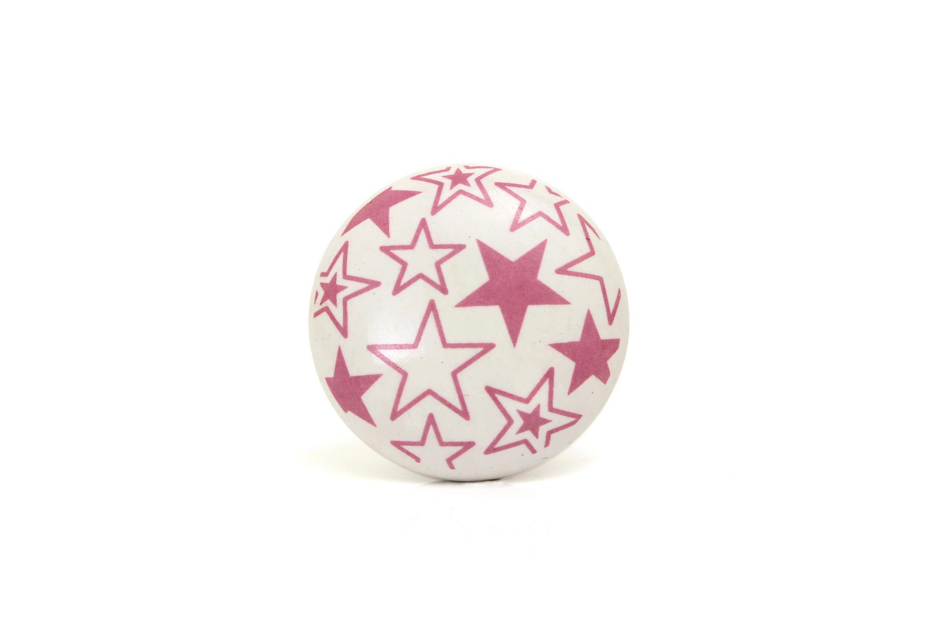 La finesse Porcelánová úchytka Stars pink, růžová barva, porcelán 40 mm