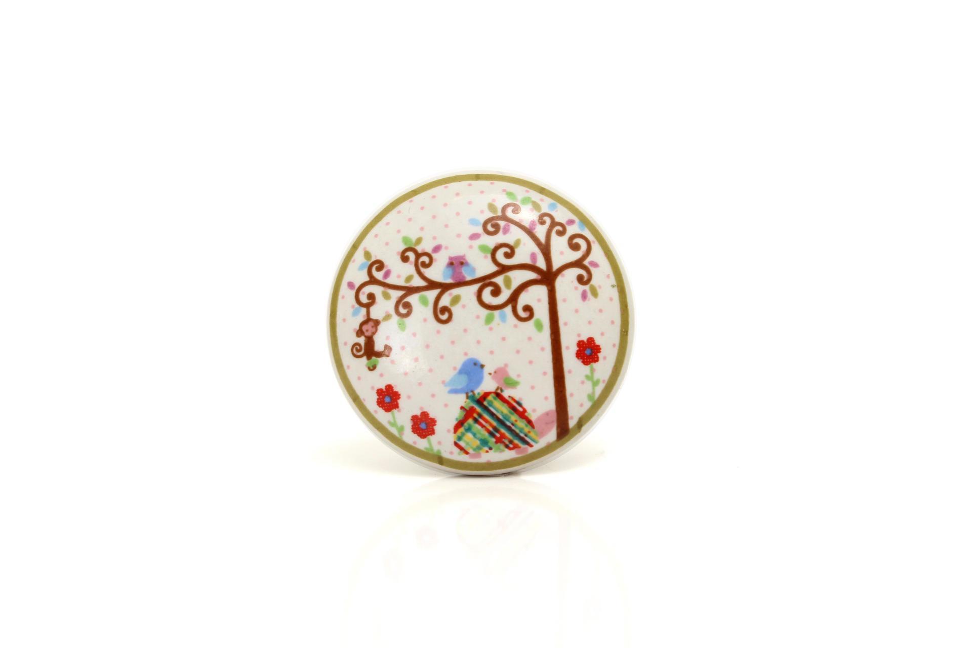 La finesse Porcelánová úchytka Tree, béžová barva, porcelán 40 mm