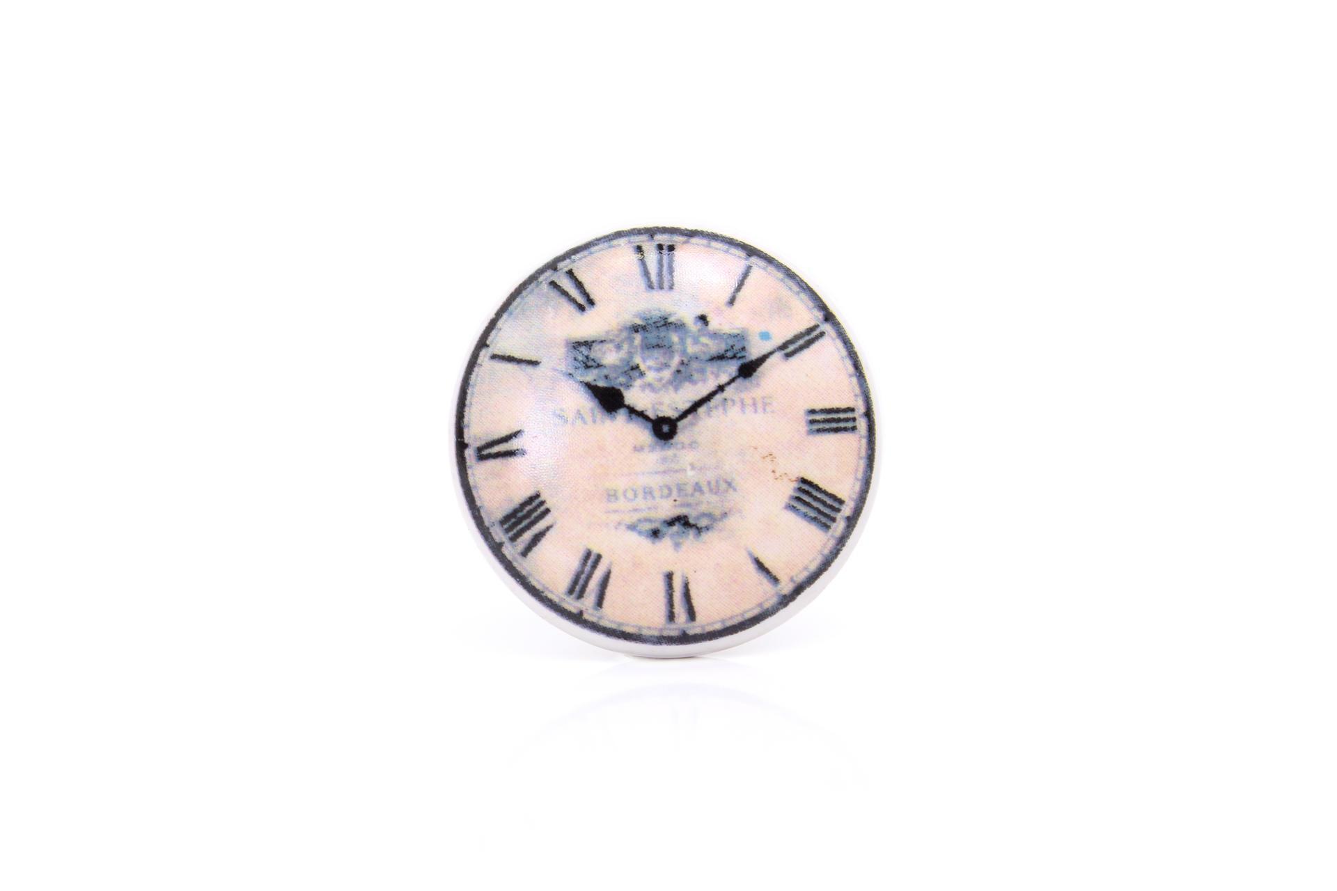 La finesse Porcelánová úchytka Clock, černá barva, porcelán 40 mm