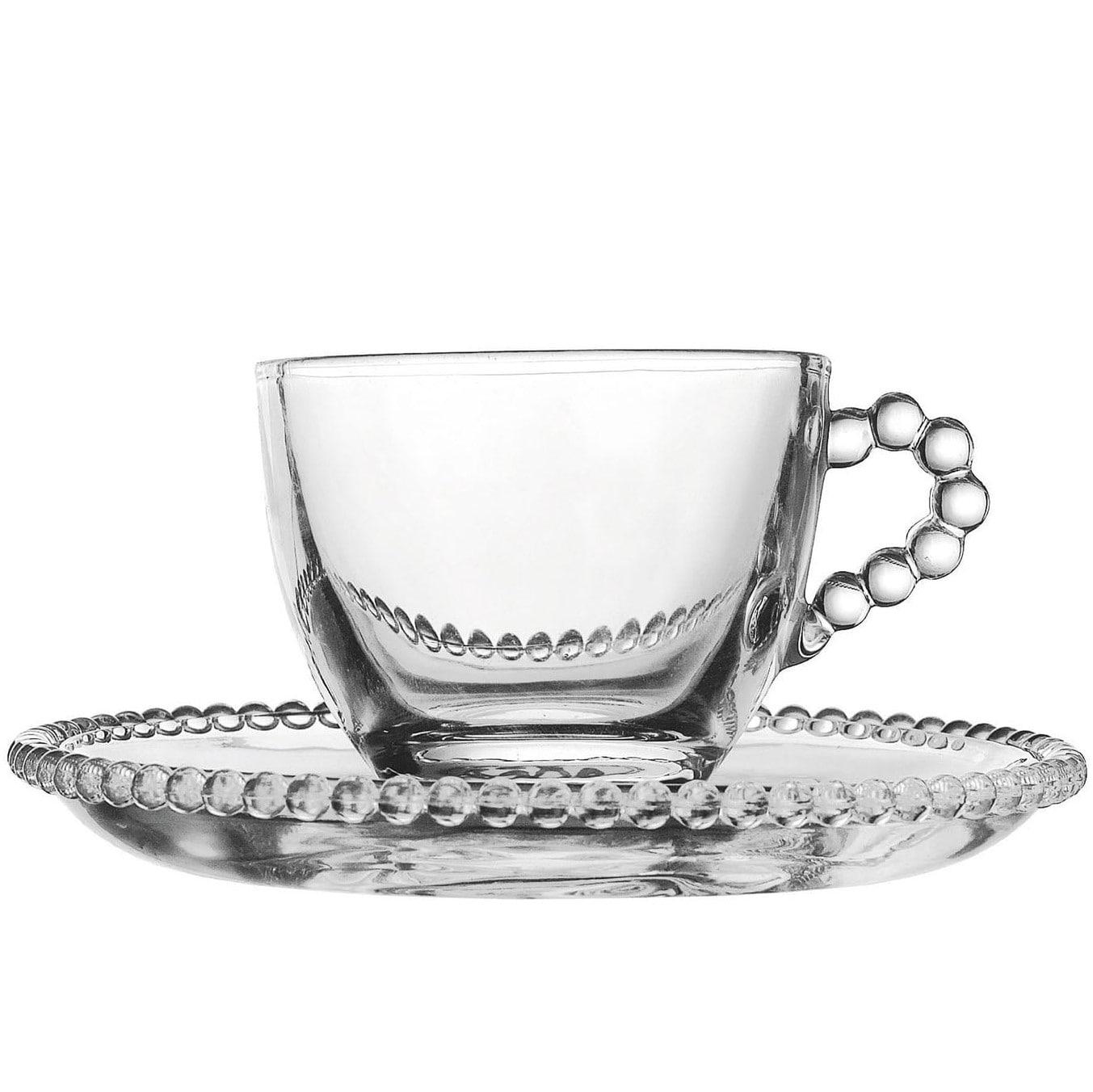 CÔTÉ TABLE Skleněný šálek s podšálkem Pearl - ristretto, čirá barva, sklo