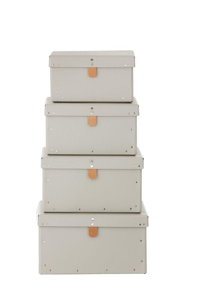 ferm LIVING Kartonový box Grey Velikost S, šedá barva, papír