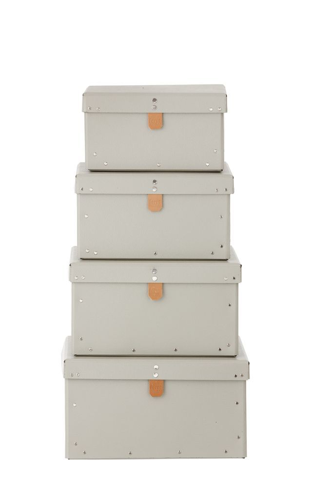 ferm LIVING Kartonový box Grey Velikost L, šedá barva, papír