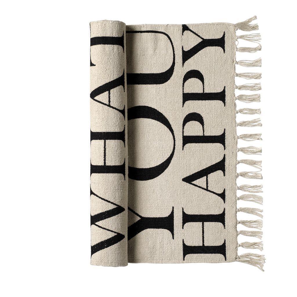 Bloomingville Bavlněný koberec Happy, béžová barva, textil