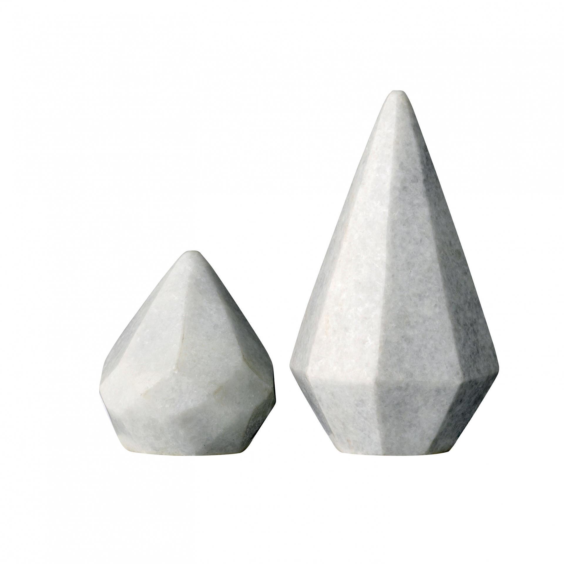 Bloomingville Dekorace z mramoru light grey Nízký kužel, šedá barva, mramor