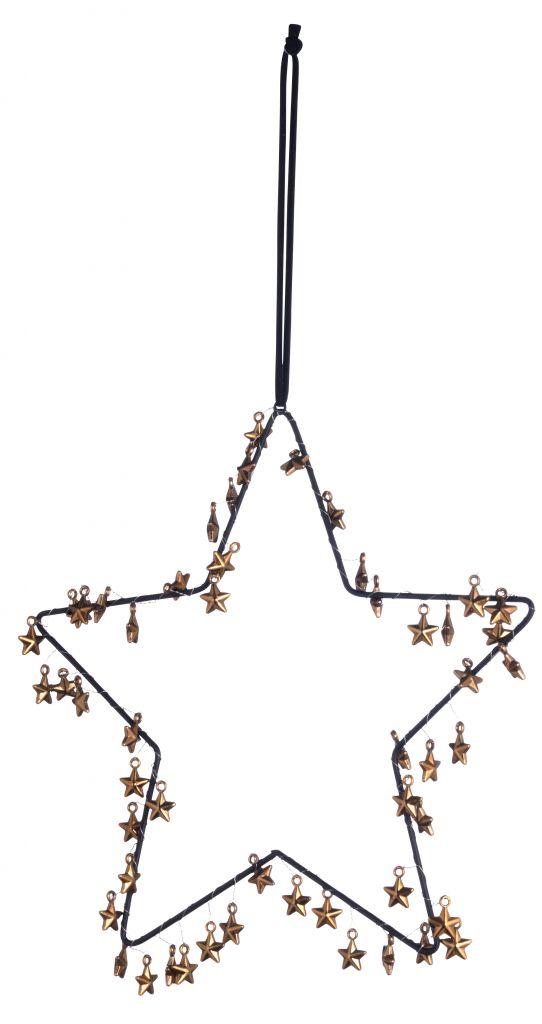 MADAM STOLTZ Dekorativní hvězda s mini hvězdičkami - větší, hnědá barva, kov