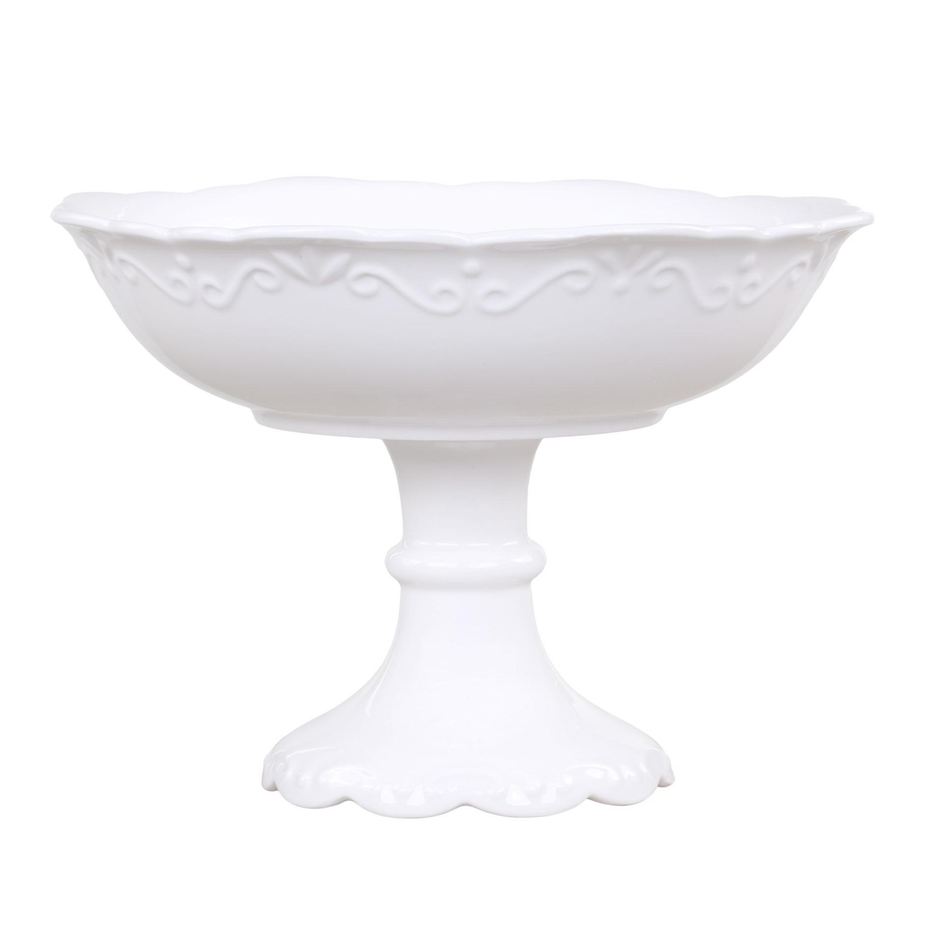 Chic Antique Porcelánová mísa na nožce Provence, bílá barva, keramika