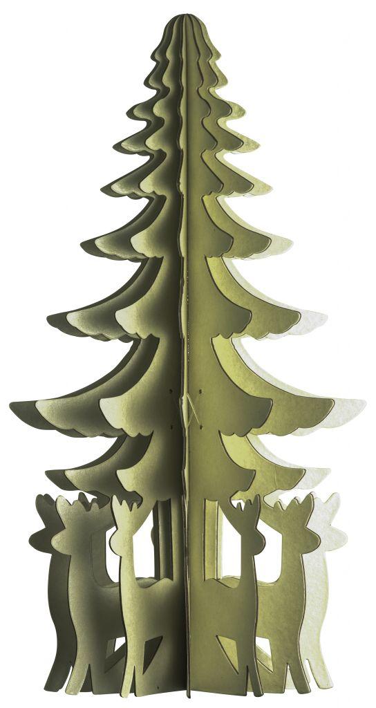 MADAM STOLTZ Papírová ozdoba Tree natural, žlutá barva, papír