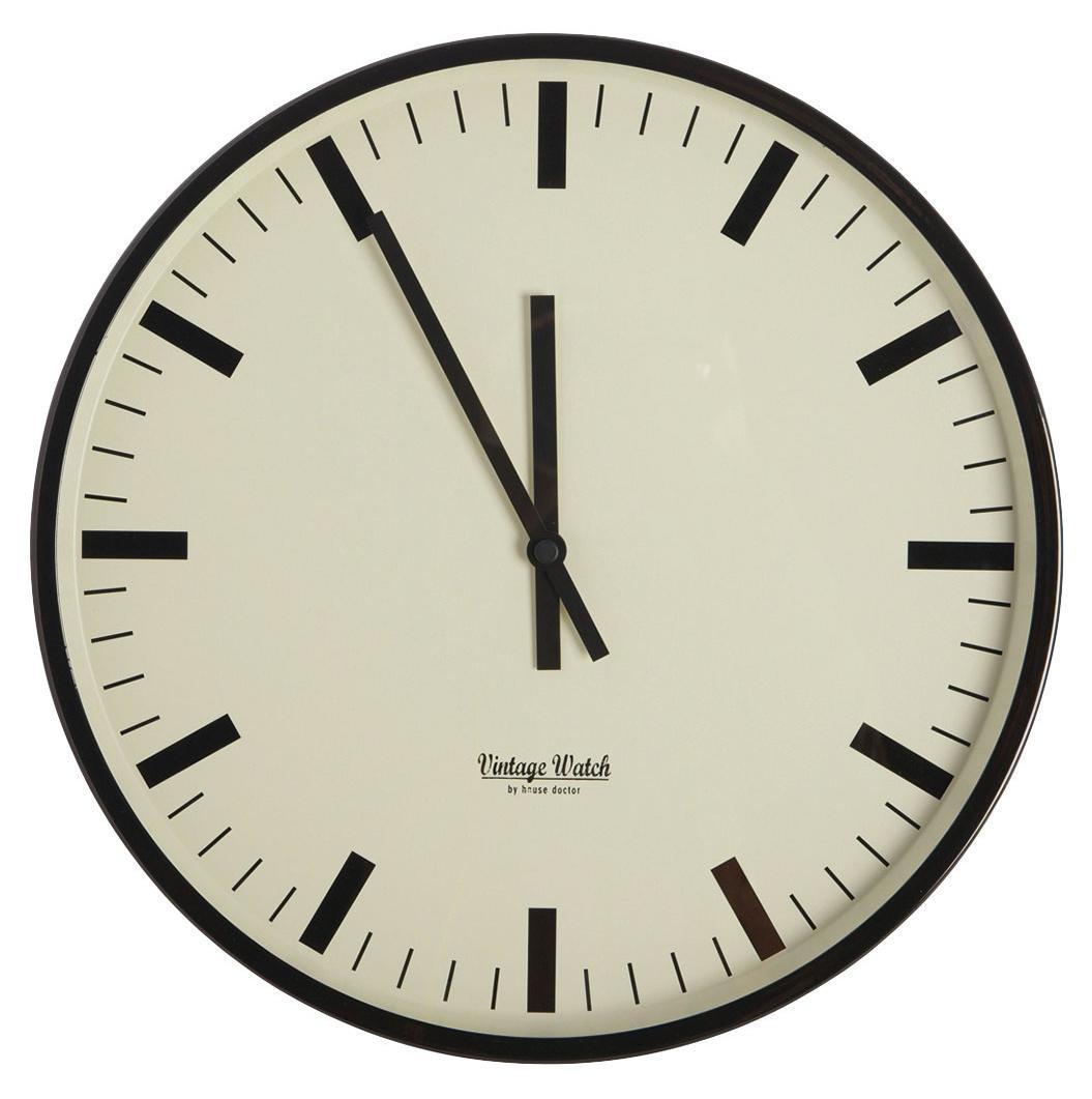 House Doctor Nástěnné hodiny Station 38 cm, černá barva, sklo, kov