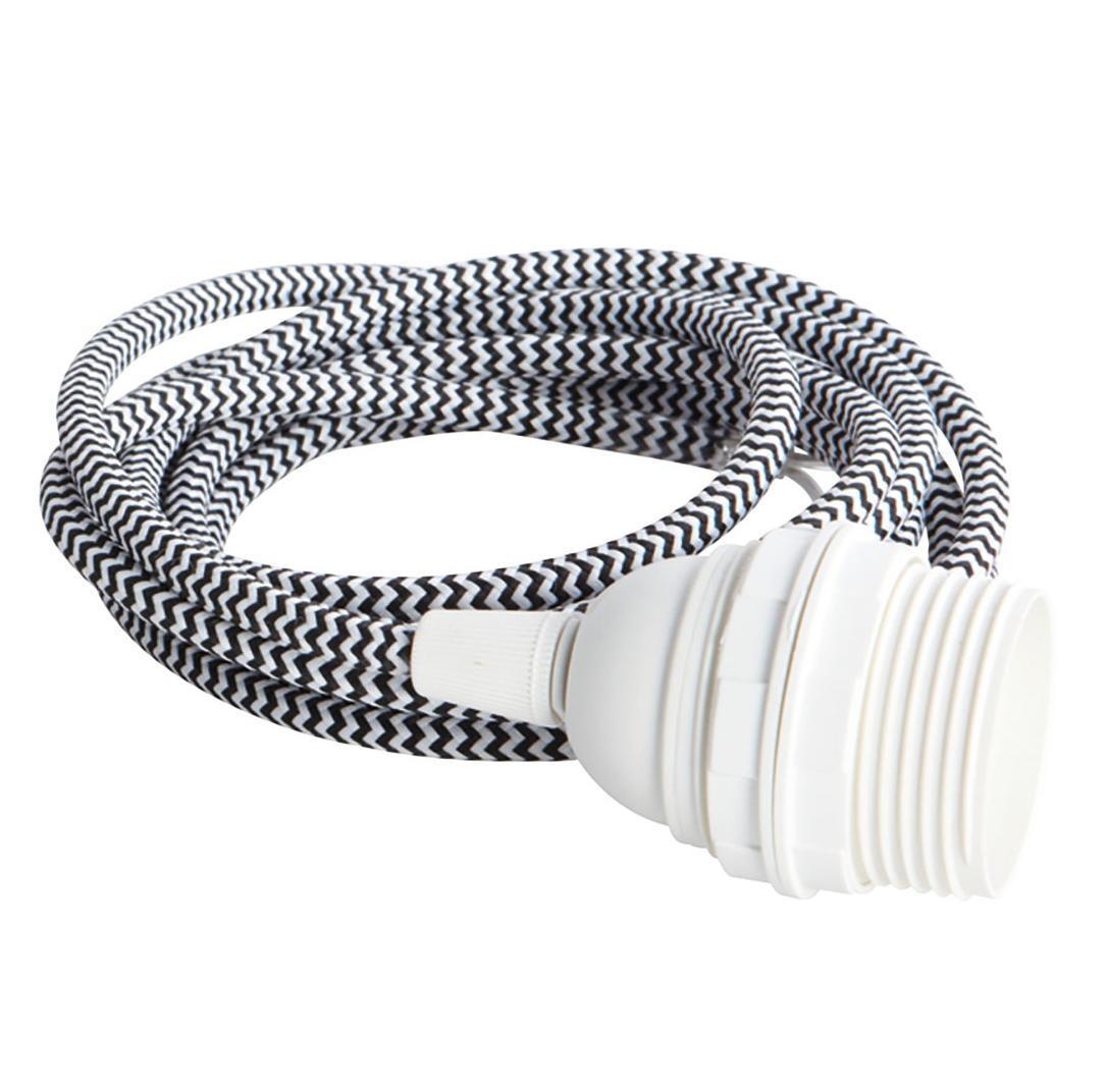 House Doctor Přívodní kabel pro závěsnou lampu Black/White, černá barva, plast, textil
