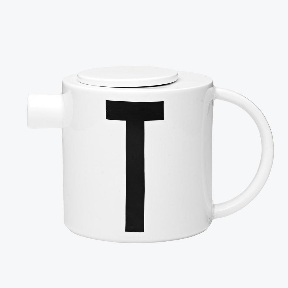 Design Letters Porcelánová konvice Letters, černá barva, bílá barva, porcelán