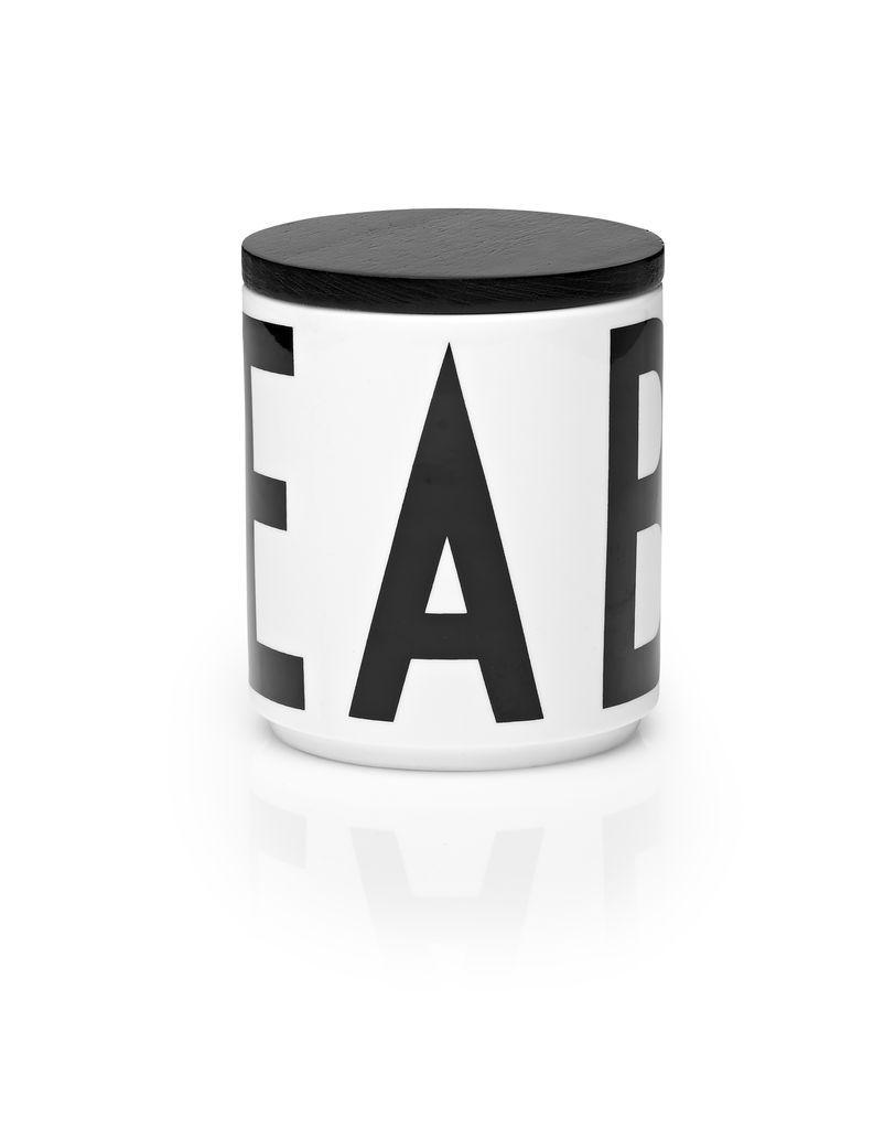 DESIGN LETTERS Mini dóza s víčkem Letters Black, černá barva, bílá barva, dřevo, porcelán