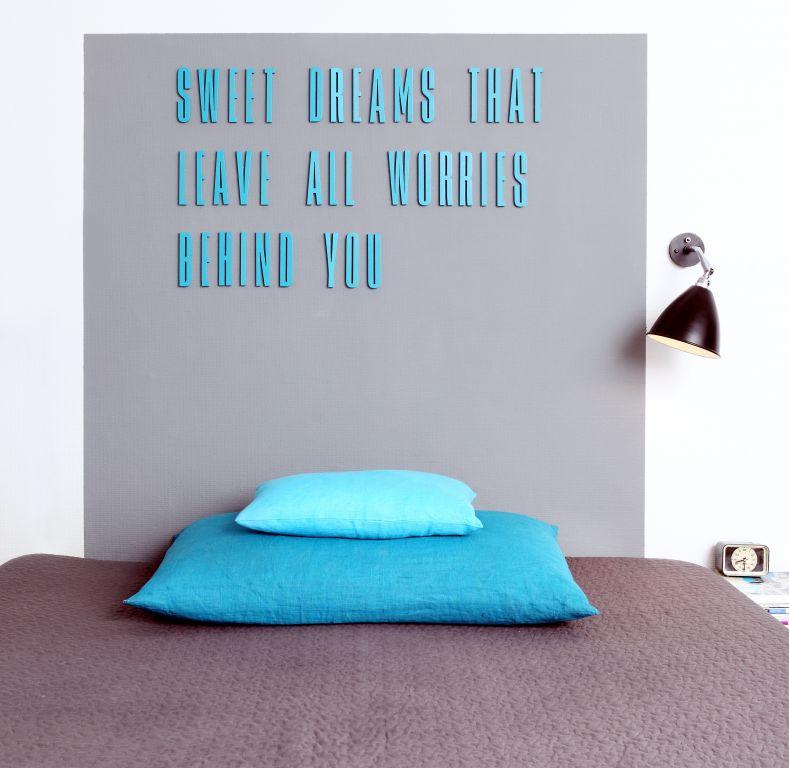 DESIGN LETTERS Dřevěná písmena Letters Turquoise A, modrá barva, dřevo