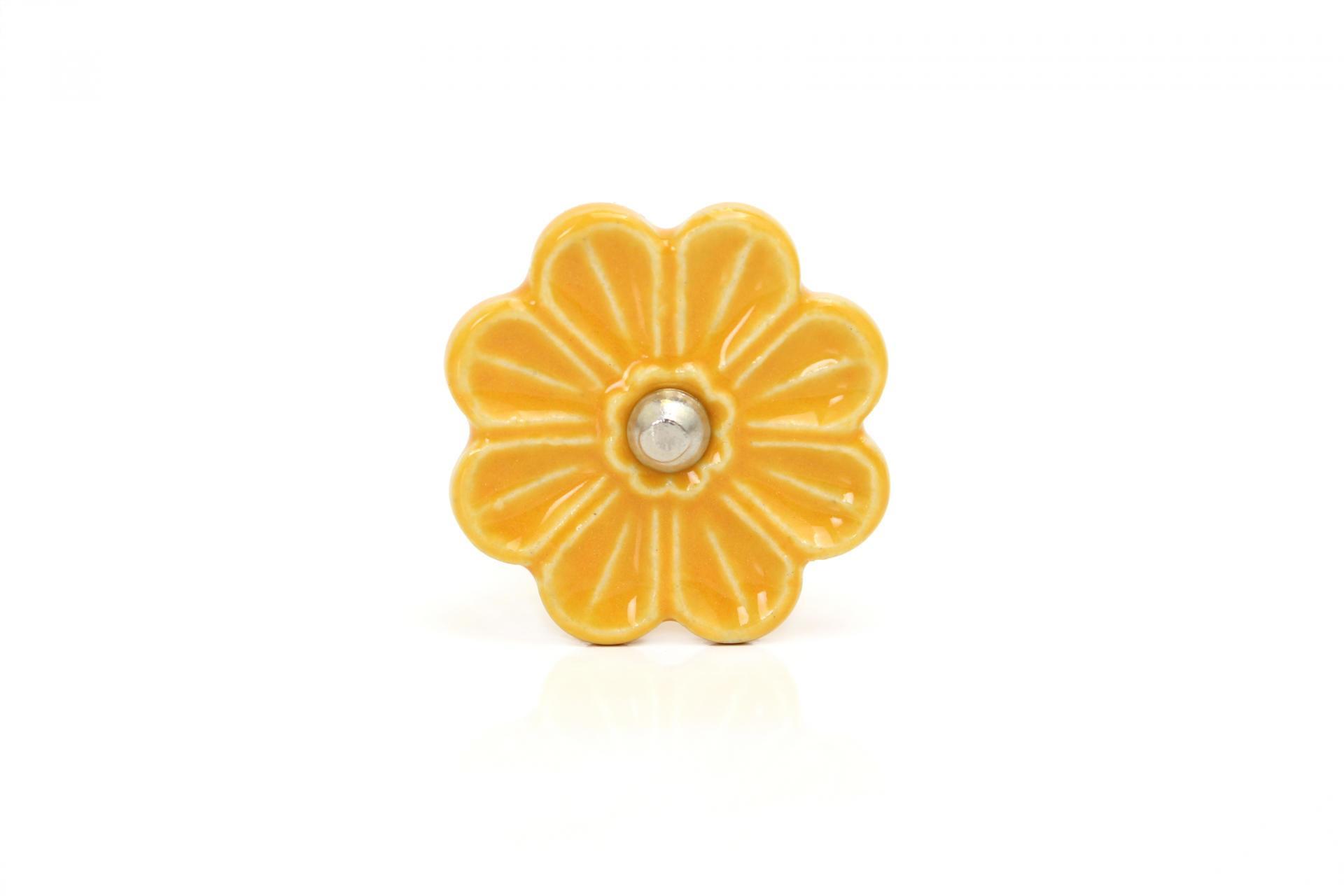La finesse Porcelánová úchytka Flower yellow, žlutá barva, keramika 30 mm 40 mm