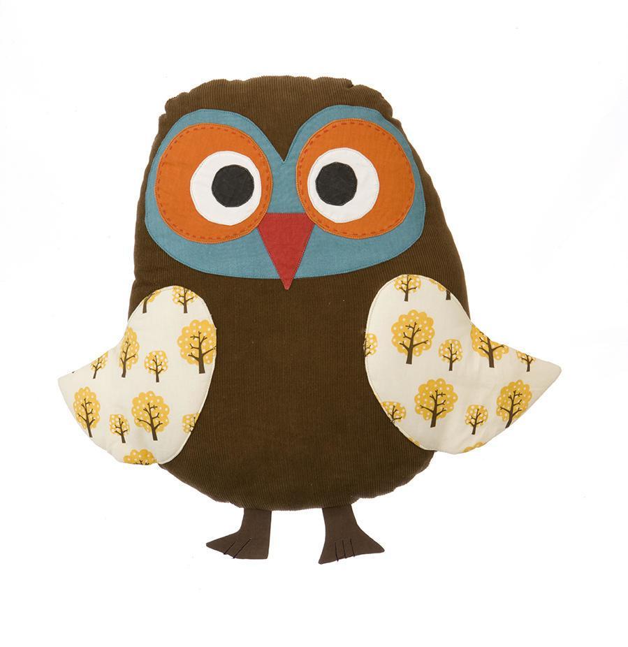 ferm LIVING Polštář Owl, hnědá barva, textil