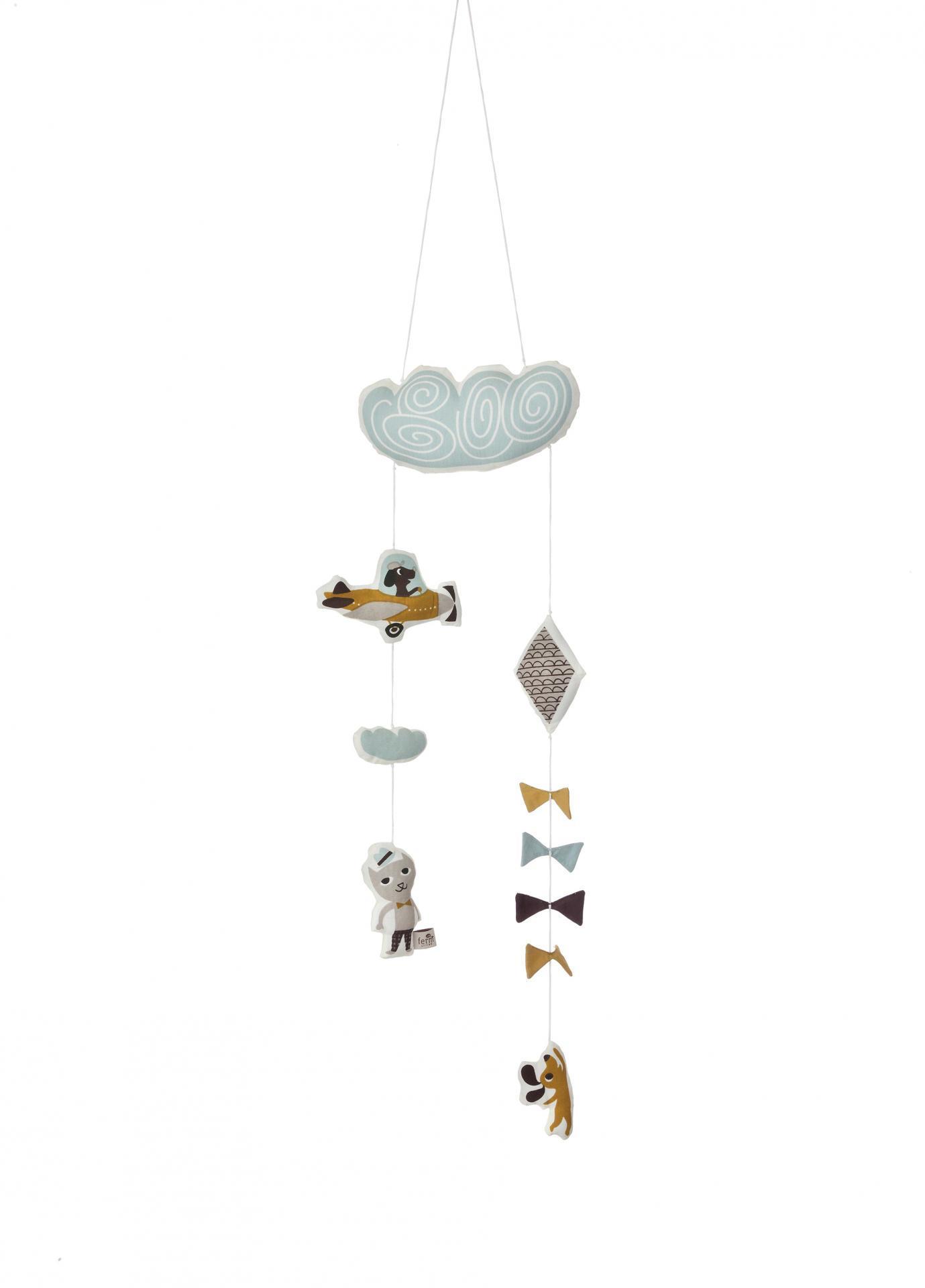 ferm LIVING Závěsná hračka na postýlku Kite, multi barva, textil